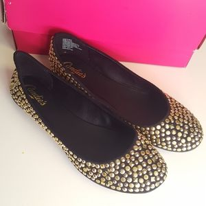 Candie's Black Gold Studded Ballet Flats